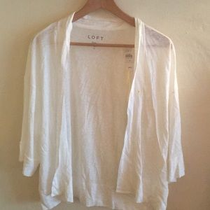 LOFT white open lightweight cardigan